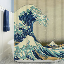 Shower Curtain Waterproof Great Sea Waves Pattern Curtain With Hooks Home Decor