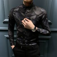 Men's Slim Fit Shirts Youth Casual Blouses Tops Long sleeve Lapel Korean Printed
