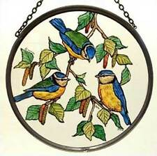Decorative Winged Heart Hand Painted Stained Glass Roundel - Blue Tits