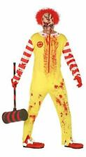 Fastfood clown costume Burger zombie man for horror disguise one size