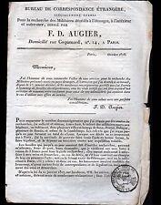 """PARIS (IX°) LETTRE Empire du BUREAU CORRESPONDANCE ETRANGERE """"F.D. AUGIER"""" 1818"""