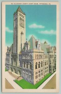 Pittsburgh Pennsylvania~Allegheny County Courthouse~1940s Linen Postcard