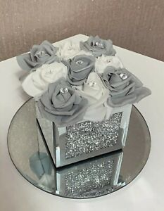 BLING CRUSHED DIAMOND SILVER CRYSTAL ITALIAN VASE WITH GREY AND WHITE FLOWERS