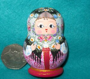 Matryoshka Fridge Magnet Grey Pink Russian doll HAND PAINTED Traditional MITINA