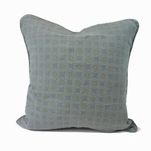Charcoal cushion with mustard & pale grey dot pattern / feather cushion
