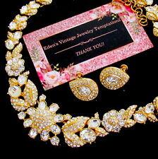 Vtg Couture Runway MONET w Swarovski Crystal Rhinestone Necklace NAPIER Earrings