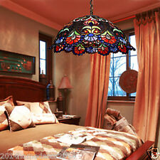 Tiffany Floral Styled Pendant Light Stained Glass Lamp Shade 2 Lights Art Decor