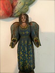 RARE Vintage Mexican Folk Art Angel Religious Hand-Carved Statue/ Figure