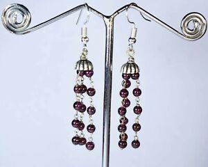 E-0766 Garnet Natural Gemstone Round Plain 24Cts Silver Plated Dangle Earrings