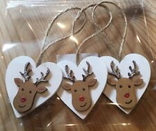 3 X Christmas Decorations Reindeer Shabby Chic Rustic Nord Real Wood Heart Jute