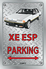 Parking Sign - Metal - Ford XE ESP WHITE WITH FR 18 SIMMONS  - Checkplate look