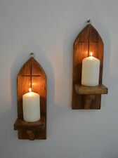 Wood Church Candle Sconces Light Holders