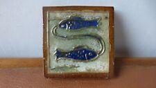 Antique ceramic tile. Carreau céramique.Sign of the fish. Sandstone GUERIN.