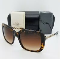 New Coach sunglasses HC8237 548574 57 Dark Tortoise Brown Gradient Chain 8237