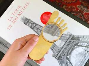 Vintage Brass Foot-Shaped Magnifying Glass | Gold Tone Reading Glass