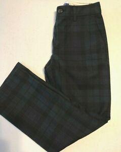 Polo Ralph Lauren Boy's 7 8 10 12 14 16 18 20 Tartan Plaid Pants Blk/Green Lined