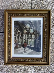 Gravure/lithographie d'Yves Brayer, peintre, graveur, illustrateur - 37x31 cms