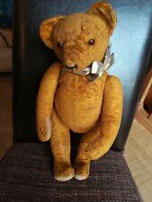 Alter Teddybär 30er, 40er Jahre, orange, Glasaugen