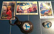 PAN AM AIRLINES  LEATHER KEY RING,  GOLD PLATE BADGE +  3 X STICKERS
