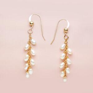 "Handmade Wheat ears!Multiple White Pearl Earrings 14K Yellow Gold Filled,1.72"""