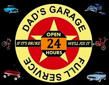 METAL MAGNET Image Of Dad's Garage Open 24 Hours Family Car Bicycle MAGNET