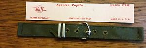 NOS US MILITARY ISSUE Wristwatch Watch BAND Strap WWII WW 2 16-mm Brite (B0)