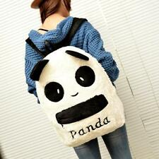 Women Cute Panda Shoulder Backpack Furry Zipper Bag Satchel School Bags Rucksack