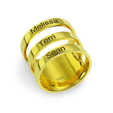 Customized Three Names Ring Family Banded Anniversary Rings For Mom