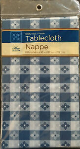 """Home Collection Vinyl Tablecloth Oblong  54"""" X 90"""" Blue Gray Pattern New"""