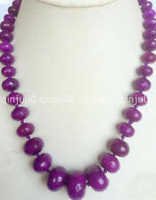 """Genuine natural 10-18mm Faceted Purple Red Ruby Abacus Roundel Bead Necklace 18"""""""
