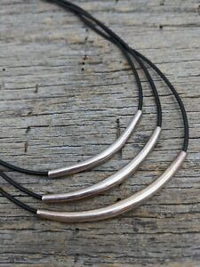 SILPADA Sterling Silver Black Leather 3 Strand Necklace N1571