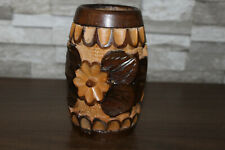 """6 1/2"""" Wooden Decorative Flower Floral Vase - Hand Carved"""