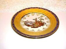 Edgewood China EWD2 Pattern Gold Blue Filagree Romantic  Scene Dinner Plate Set