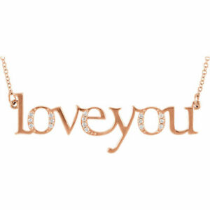 """Diamond Love You 17.50"""" Necklace In 14K Rose Gold"""