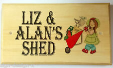 Large Shed Plaque / Sign - Lady Women Gardener Nanny Garden Workshop Wheelbarrow