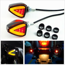 2 X Dual Color Amber+Red LED Motorcycle Turn Signal Indicator Blinker Lights DRL