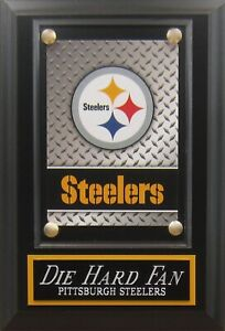 DIE HARD FAN PITTSBURGH STEELERS LOGO CARD PLAQUE FOR YOUR MAN CAVE WALL DECOR
