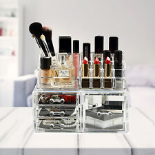 Clear Makeup Case 4 Drawers Cosmetic Organizer Jewelry Storage Acrylic Clear Box