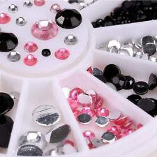 1Wheel 300pcs 3Colors Crystal Gems 3D Acrylic Salon Nail Art Tips 2.0-5.0mm New
