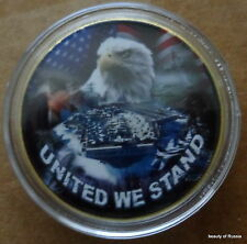 UNITED WE STAND  EAGLE USA FLAG   24K GOLD  PLATED  Challenge  COIN