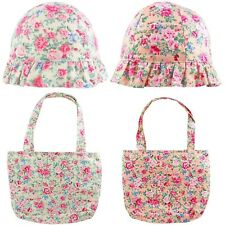 Girls Hat and Bag Set Summer Sun Hats and Little Girl Bags Floral Cotton 2-10 Yr