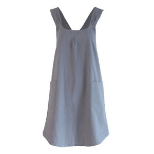 Vintage Baking Apron Gardening Cross Back Cotton/Linen Apron Pinafore Dress f