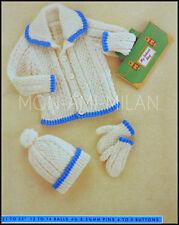 "Knitting Pattern • Childrens • Chunky Aran Jacket, Bobble Hat & Mittens • 21-23"""
