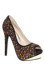 S50 - Ladies Multi-Coloured Embellished Platform Peep Toe High Heels - UK 2-4