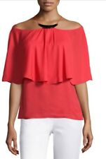 NWT Halston Heritage Flowy Bare Shoulder Top With Hardware In Red  Size 2 $275