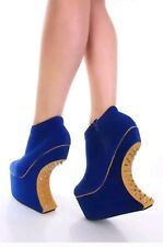 Bumper Women's Spike Heeless Wedges/Platforms Blue/Tan Silver Spikes Size 6 New