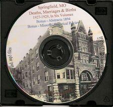 Springfield Missouri Marriages, Births & Deaths 3 Vol.