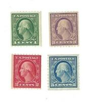 Scott 486, 487, 489, 496 George Washington Coils MNH