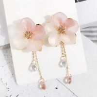 Fashion Acrylic Flower Ear Stud Long Drop Dangle Tassel Earrings Women Jewelry