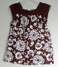 babyGAP Size 18-24 Months Brown Floral Crochet Accents Sleeveless Dress